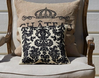 Cross stitch pattern BAROQUE - black,cross stitch,needlepoint,burlap pillow,french style,needelpoint pillow,pillow cover,diy,Anette Eriksson
