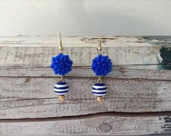 Royal Blue Floral Drop Earrings