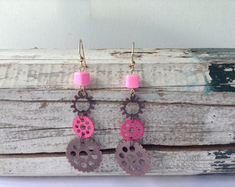 Pink and Copper Steampunk Earrings