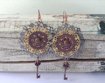 Large Mixed Metal Steampunk Earrings