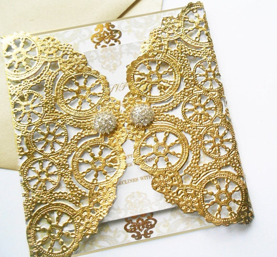 Metallic Gold Laser Cut Gate Fold Wedding by YesUMaystationery