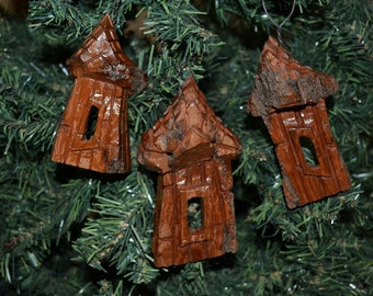 Set of 3 Handmade Christmas Ornaments, Cottonwood Bark Carvings, Whimsical Houses, Cottage, Fairy Houses, Gnome Homes, Hand Carved 1063