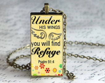 Under His Wings You Will Find Refuge,Glass Pendant, Inspirational Bible Verses Glass Pendant, Quotes Necklace