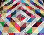"""King size quilt, diamond quilt, barn raising quilt, 100""""x100"""", multi-colored, rainbow, patchwork, squares, machine quilted"""