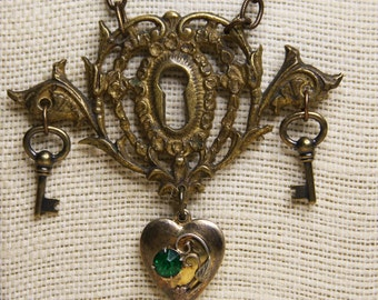 Vintage Hardware NECKLACE- Found Object Jewelry with Heart LOCKET and Keys- Keyhole Escutcheon Plate Pendant