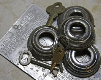 Metal Assemblage Lot- Number Plate- Machine Tag- Old Keys- Chrome Automobile Window Cranks