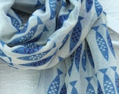 Blue Newlyn Fish print large Scarf