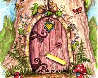 Fairy door in tree,  Painted Fairy door, Personalized Fairy door, Fairy wall art, Nursery wall art,