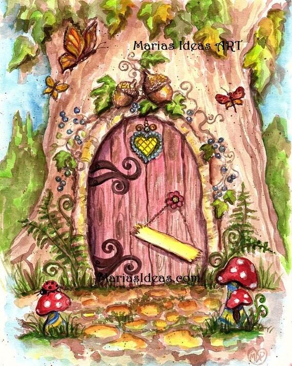 Fairy door in tree painted fairy door personalized fairy for Painted fairy doors