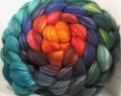 Organic Polwarth/Bombyx 80/20 Roving Combed Top 5oz - Zombi Rainbow 1