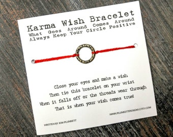 Karma Wish Bracelet - Available In Over 100 Different Colors!!!  (Speckled Circle Charm - Golden)