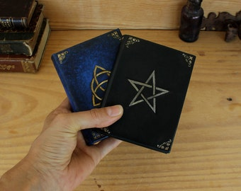 Set of Two Pocket Journals, Blue and Black Leather, Magic Symbols - Triquetra and Pentagram