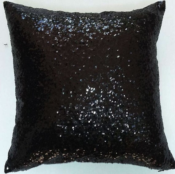 Black Sequin pillow. glitter pillow. 18x18 inches. throw
