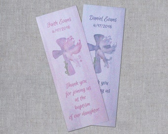 Christening Bookmarks - First Communion Bookmarks - Baptism Bookmarks - Thank You Bookmarks - Personalized Bookmarks - Dedication Bookmarks