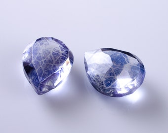 Parieba Blue Quartz Faceted Pear Briolettes Matched Pair