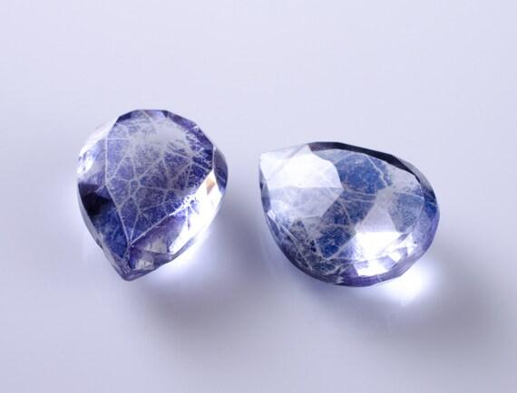 Parieba Blue Quartz Faceted Pear Briolettes Matched Pair