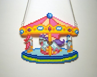 mini perler carousel necklace