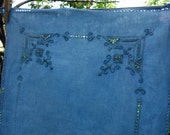 """Indigo Table Runner Vintage Light Blue Hand Dyed Cutwork Hemstitched Natural Indigo Dyed Linen Italian Embroidery Linen 15"""" x 42"""" Upcycled"""