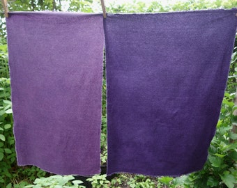 """Raw Silk Hand Dyed  2 Pieces Naturally Dyed Silk Fabric Muted Purple 14""""x 25"""" Plant Dye Art Fabric Raw Silk Noil Purple Violet Lavender Silk"""