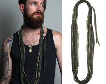 Man Gifts, Necklace, Gift for Boyfriend, Men's Jewelry, Green Necklace, Gift for Men, Husband, Jewelry for Men, Fabric Necklace, Men Gift