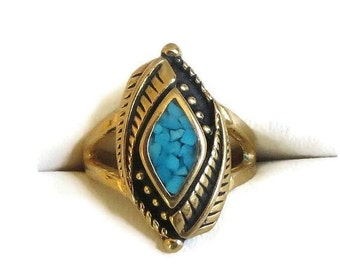 Southwest Turquoise Ring with Feathers – Vintage Size 6 & Signed COP