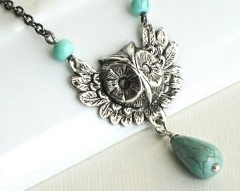 Silver Owl Necklace - Owl Jewelry, Bird Necklace, Bird Jewelry, Nature Jewelry