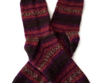 Socks - Hand Knit Men's Gray Brown/Dark Red/ Burgundy Striped Socks - Size 9.5-11 - Casual Socks