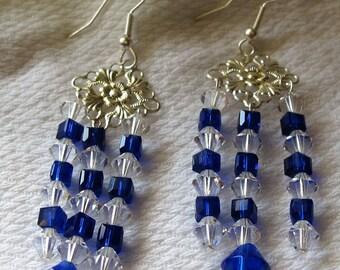 Dazeling Chandelier Earrings of Blue & Clear Crystals pr