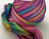 1/2 yd Hand Dyed Shibori Silk Ribbon Purple Passion Borealis Shibori Girl
