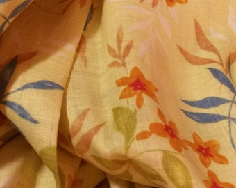 Shirt or Dress Weight Floral Linen Fabric - Green/Yellow with Floral