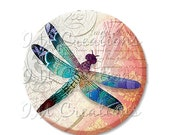"""50% OFF - Pocket Mirror, Magnet or Pinback Button - Wedding Favors, Party themes - 2.25""""- Bold Dragonfly MR226"""