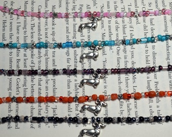 Dachshund Doxie hand designed glass bead anklet assorted colors available