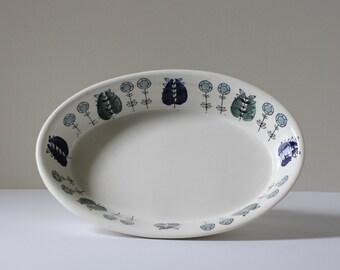 Egersund Norway Oval Casserole, Scandinavian Modern Design, Mid-Century Floral, Scandi Pottery,  Nordic Design