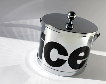 Mod Chrome Typography Ice Bucket, Vintage ATAPCO USA Barware, New Year's Eve Party