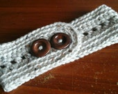 Crochet Ladies Headband Earwarmer,  Large Wooden Buttons.  One Size Adjustable.   Also available custom color and size.