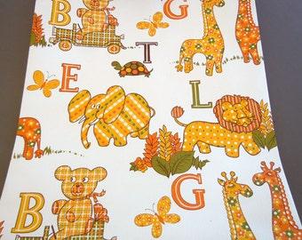 Vintage 1970's Animal Alphabet ABC Wallpaper Roll Nursery Baby Room Yellow Orange Gree Wallcovering
