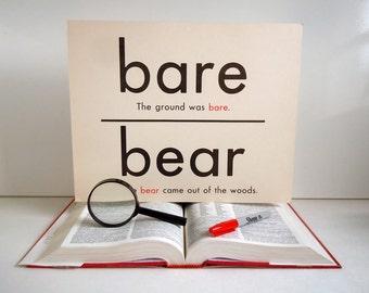 Vintage Giant Word Bear Flashcard | 11x14 Homonym Poster Flash Card | Bare Bear To Too