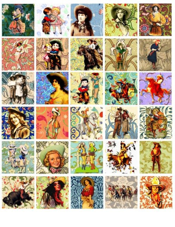 Cowgirls flowers digital COLLAGE SHEET download 1.5 inch squares floral clip art cow girls pin up girls country western art printable art