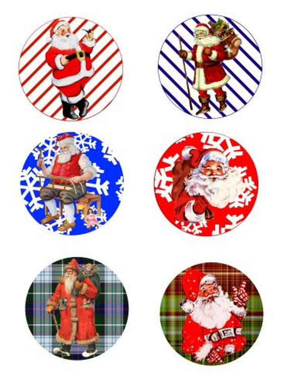 "Vintage Santa Christmas art collage sheet digital download graphics images 3.5"" inch circles printable crafts scrapbooking ornaments"