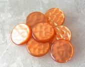 Orange Vintage Buttons 23mm - 7/8 inch Tangerine Sunset Plastic Buttons - 7 VTG Retro Mod Waffle Shimmer Luminescent Plastic Shanks PL054 bb