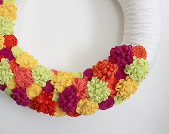 Summer Wreath, Yarn and Felt Wreath, Floral Wreath, 14 inch  - Ready to Ship
