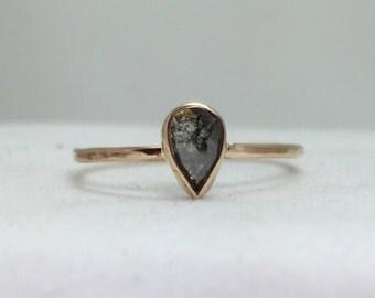 Rose Cut Diamond Engagement Ring, 14k Gold Diamond Ring, Alternative Engagement Ring