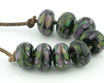 Midnight Floral Bouquet Handmade Glass Lampwork Beads (8 Count) by Pink Beach Studios - SRA (2514)