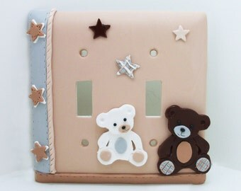 Teddy Bear Double Light Switch Cover or Outlet Cover - Tan, Brown, Gray, White - Teddy Bear Nursery Decor - Clay - Toggle or Rocker Cover