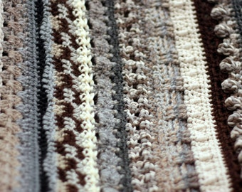 Striped texture sampler afghan, grey, brown, creams and beige