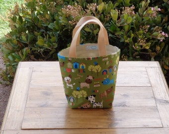 Dog Accessory Tote in a Dogs and Dog Houses on Olive Print
