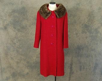 vintage 50s Wool Coat - 1950s Mink Collar Coat - Red Wool Long Coat Sz M L