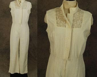 Clearance SALE vintage 70s Gauze Jumpsuit - 1970s Off White Cotton Gauze and Lace Wide Leg Jumpsuit Sz M