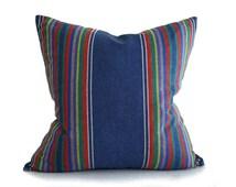 Colorful Southwestern Pillow, Rustic Lodge Pillow, Denim Blue Pillows, Striped Toss Pillows, Masculine Throw Pillows, 20x20 NEW Fall Pillows