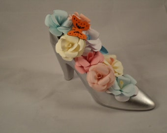 High Heel Shoe Flower arrangment  Wedding Cake Topper Centerpiece Tableware